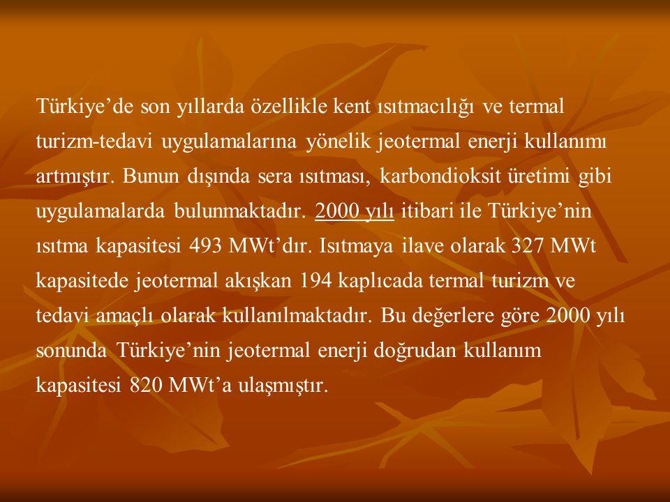 (Ocak 2006) Türkiye'deki Mevcut Jeotermal Kullanım Kategorileri (Ocak 2006) (www.epdk.gov.tr) Türkiye Jeotermal Derneği verilerine göre revize edilmiştir.
