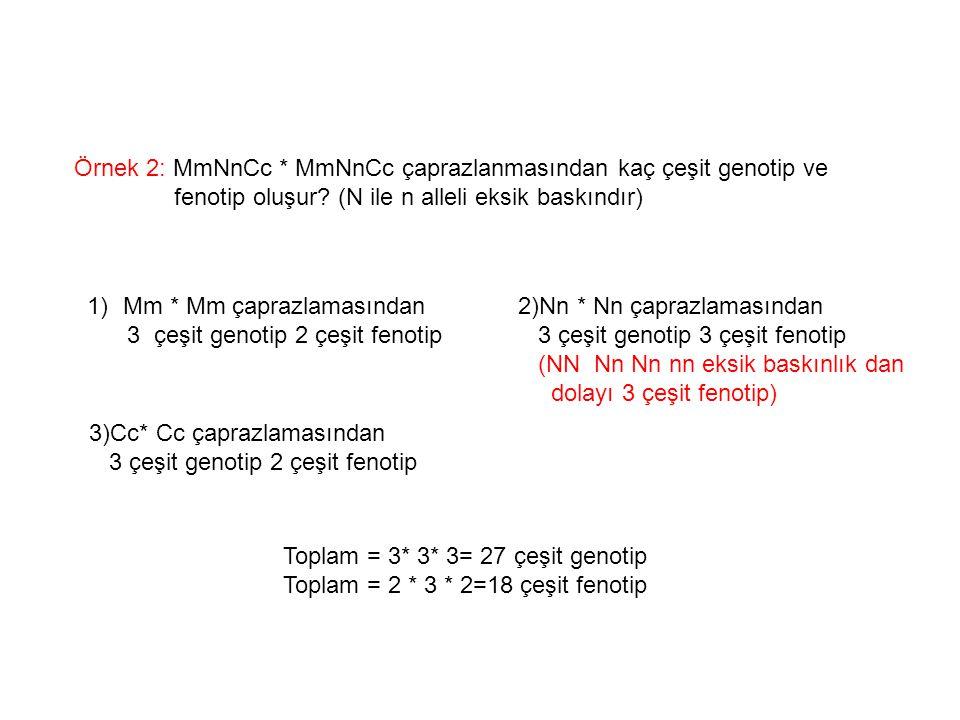 Örnek 2: MmNnCc * MmNnCc çaprazlanmasından kaç çeşit genotip ve fenotip oluşur? (N ile n alleli eksik baskındır) 1)Mm * Mm çaprazlamasından 3 çeşit ge