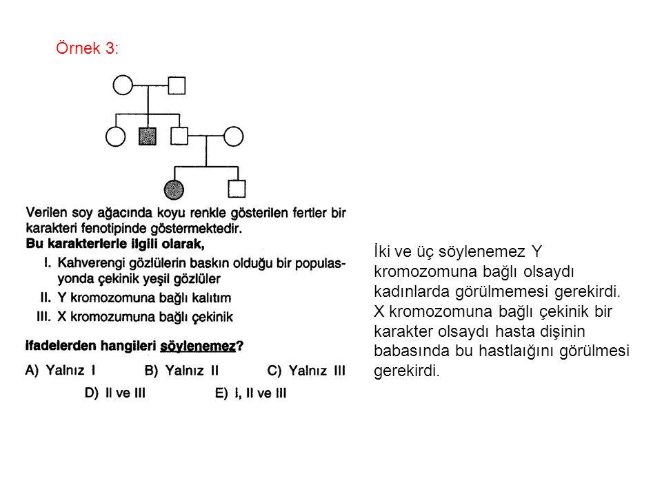 Örnek 3: İki ve üç söylenemez Y kromozomuna bağlı olsaydı kadınlarda görülmemesi gerekirdi. X kromozomuna bağlı çekinik bir karakter olsaydı hasta diş