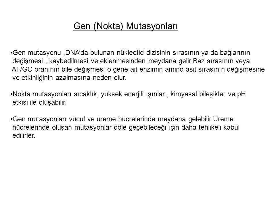 Gen (Nokta) Mutasyonları Gen mutasyonu,DNA'da bulunan nükleotid dizisinin sırasının ya da bağlarının değişmesi, kaybedilmesi ve eklenmesinden meydana