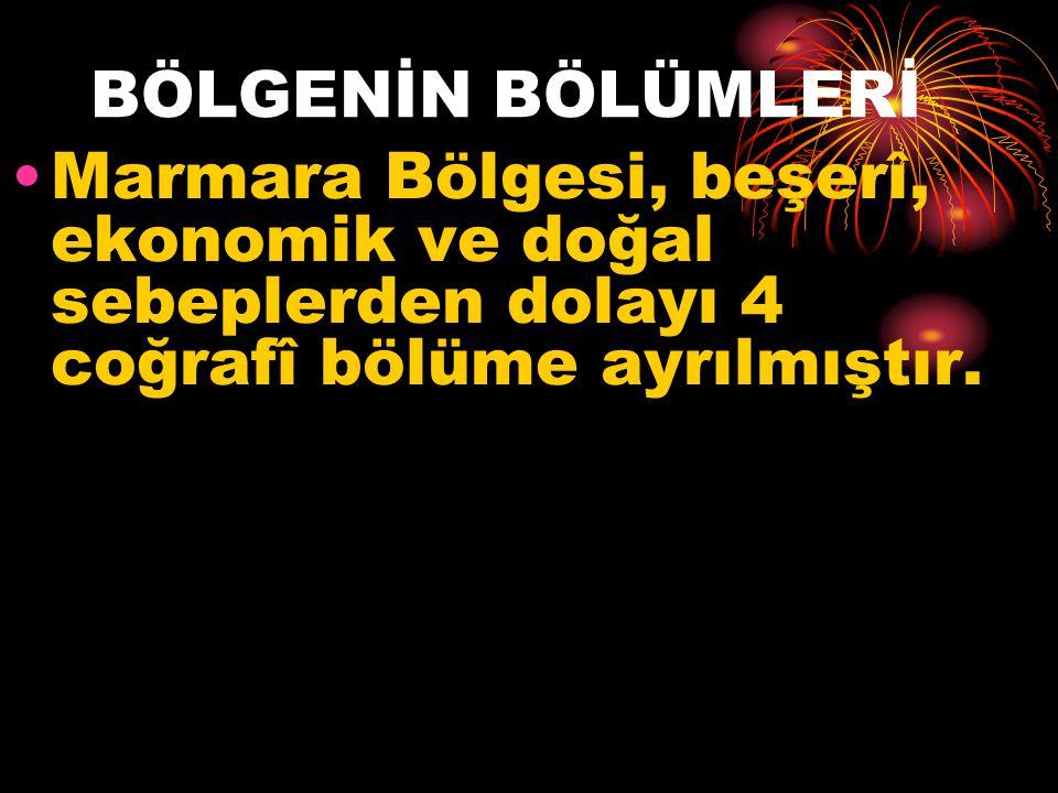 BÖLGENİN BÖLÜMLERİ Marmara Bölgesi, beşerî, ekonomik ve doğal sebeplerden dolayı 4 coğrafî bölüme ayrılmıştır.