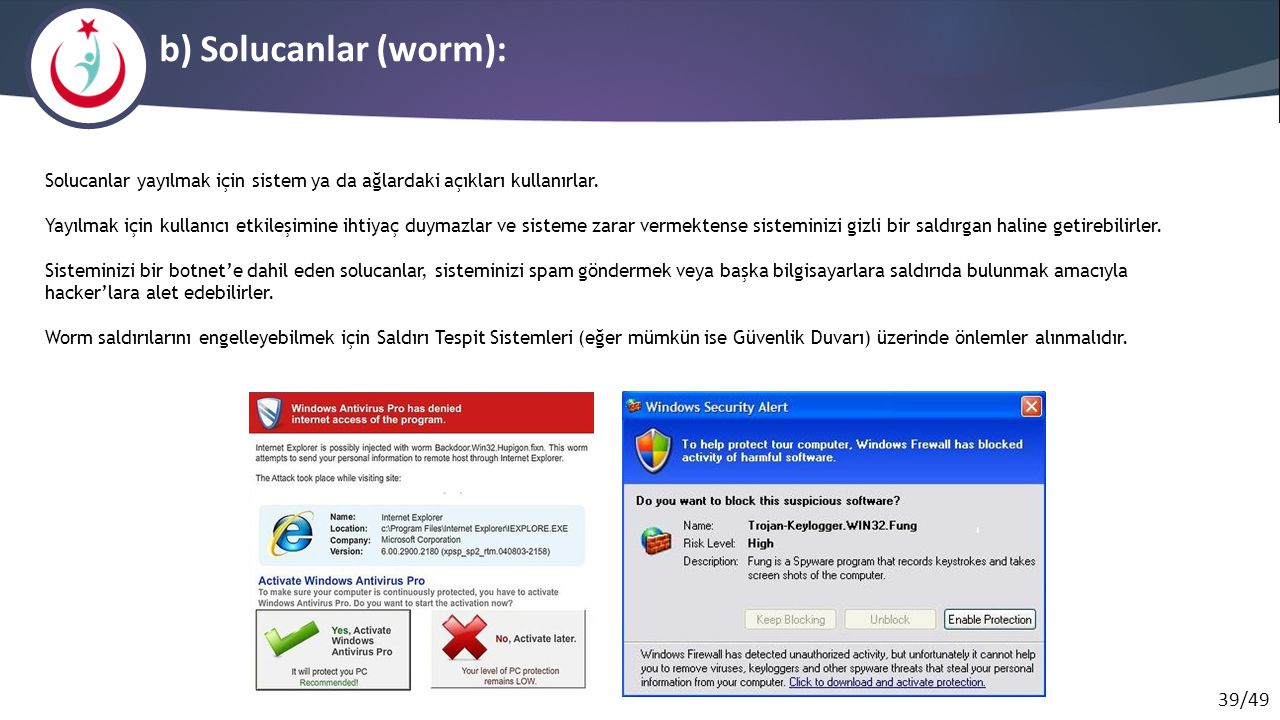 39/49 b) Solucanlar (worm): Solucanlar yayılmak için sistem ya da ağlardaki açıkları kullanırlar. Yayılmak için kullanıcı etkileşimine ihtiyaç duymazl