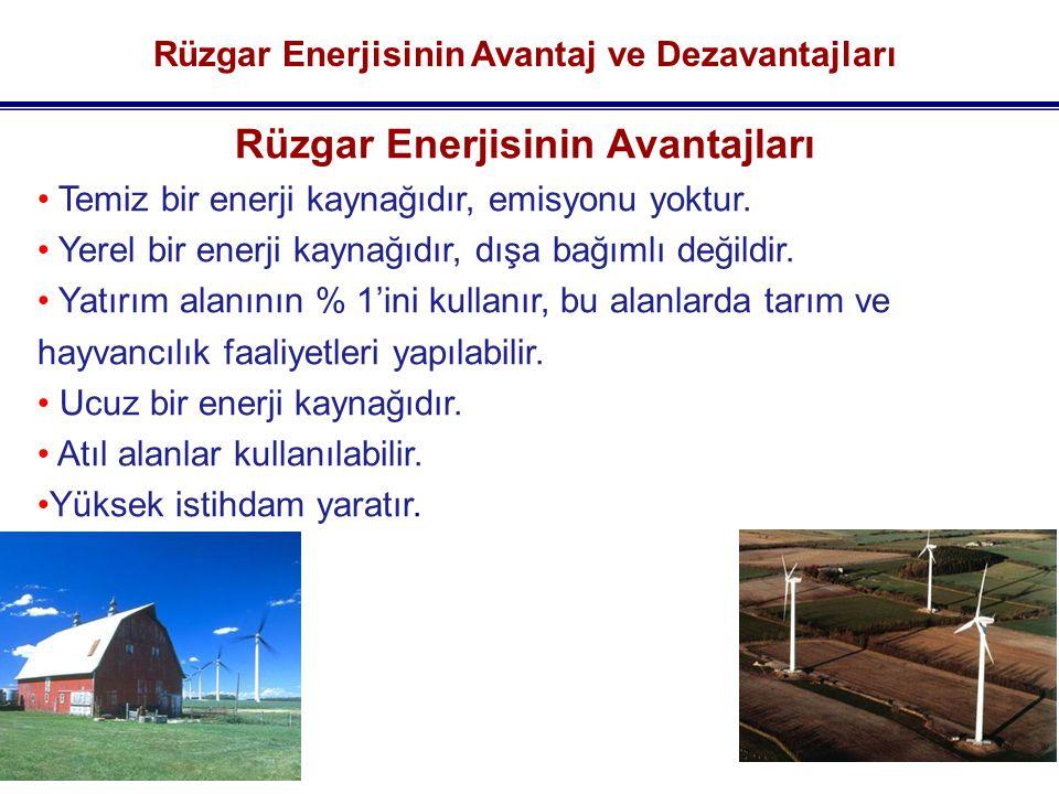 Rüzgar Enerjisinin Avantaj ve Dezavantajları Rüzgar Enerjisinin Avantajları Temiz bir enerji kaynağıdır, emisyonu yoktur.