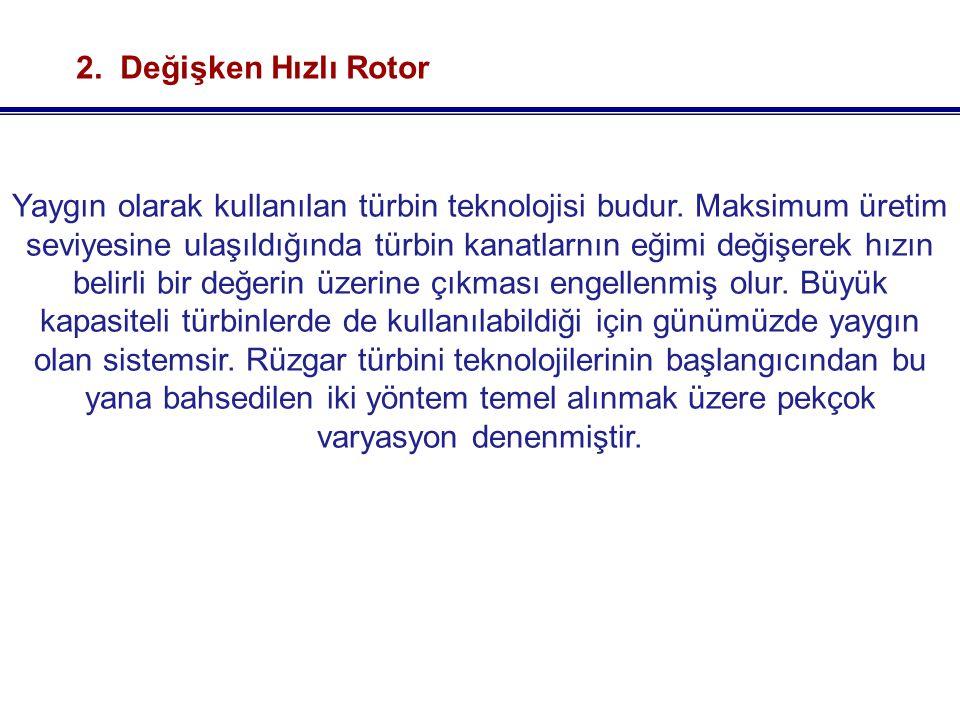 2.Değişken Hızlı Rotor Yaygın olarak kullanılan türbin teknolojisi budur.