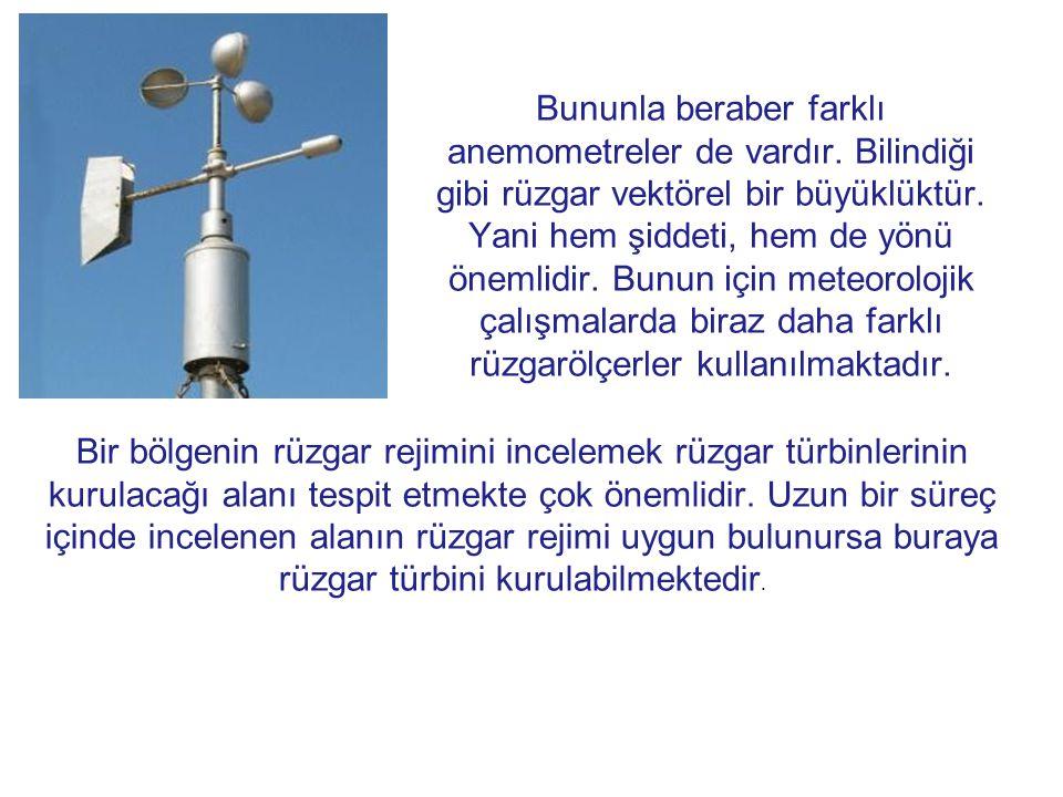 Bununla beraber farklı anemometreler de vardır.Bilindiği gibi rüzgar vektörel bir büyüklüktür.