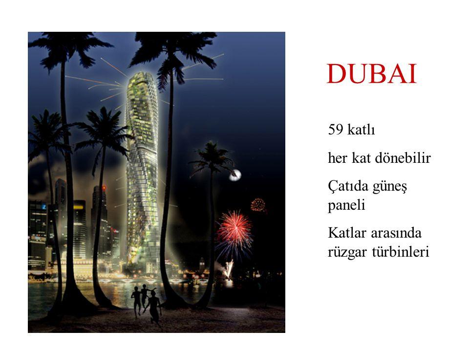 DUBAI 59 katlı her kat dönebilir Çatıda güneş paneli Katlar arasında rüzgar türbinleri