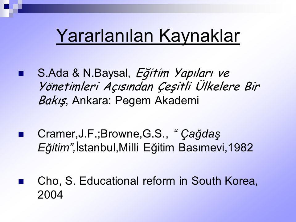 Yararlanılan Kaynaklar S.Ada & N.Baysal, Eğitim Yapıları ve Yönetimleri Açısından Çeşitli Ülkelere Bir Bakış, Ankara: Pegem Akademi Cramer,J.F.;Browne