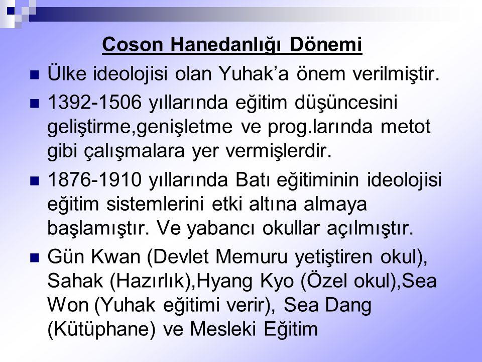 Coson Hanedanlığı Dönemi Ülke ideolojisi olan Yuhak'a önem verilmiştir. 1392-1506 yıllarında eğitim düşüncesini geliştirme,genişletme ve prog.larında