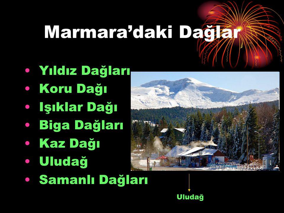 Marmara'daki Dağlar Yıldız Dağları Koru Dağı Işıklar Dağı Biga Dağları Kaz Dağı Uludağ Samanlı Dağları Uludağ