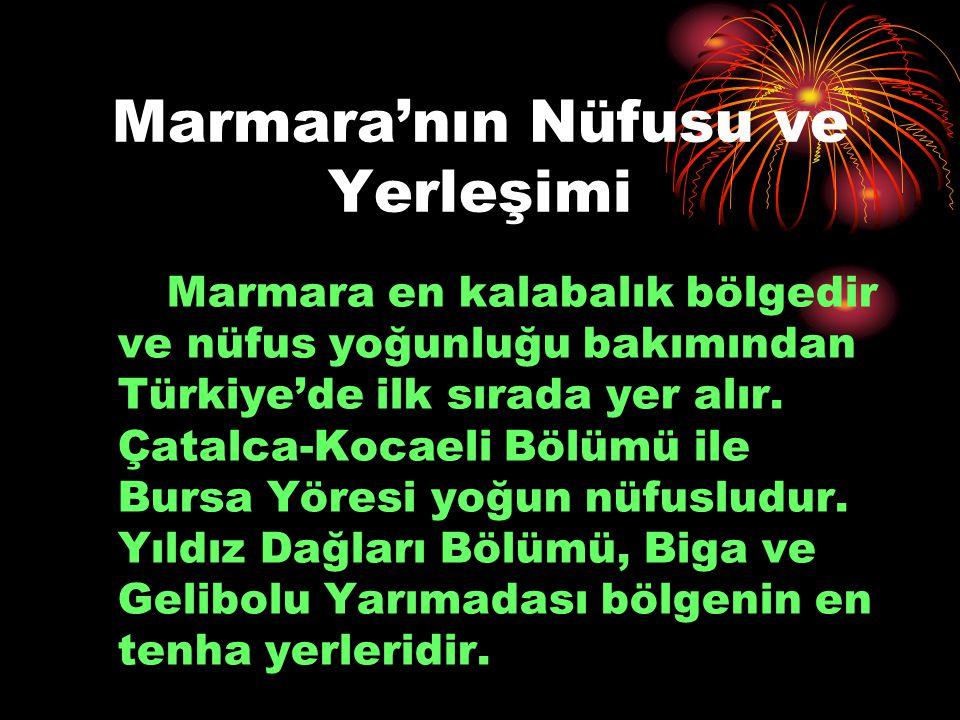 Marmara'nın Nüfusu ve Yerleşimi Marmara en kalabalık bölgedir ve nüfus yoğunluğu bakımından Türkiye'de ilk sırada yer alır. Çatalca-Kocaeli Bölümü ile