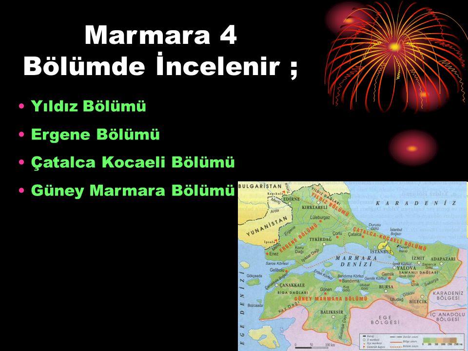Marmara 4 Bölümde İncelenir ; Yıldız Bölümü Ergene Bölümü Çatalca Kocaeli Bölümü Güney Marmara Bölümü