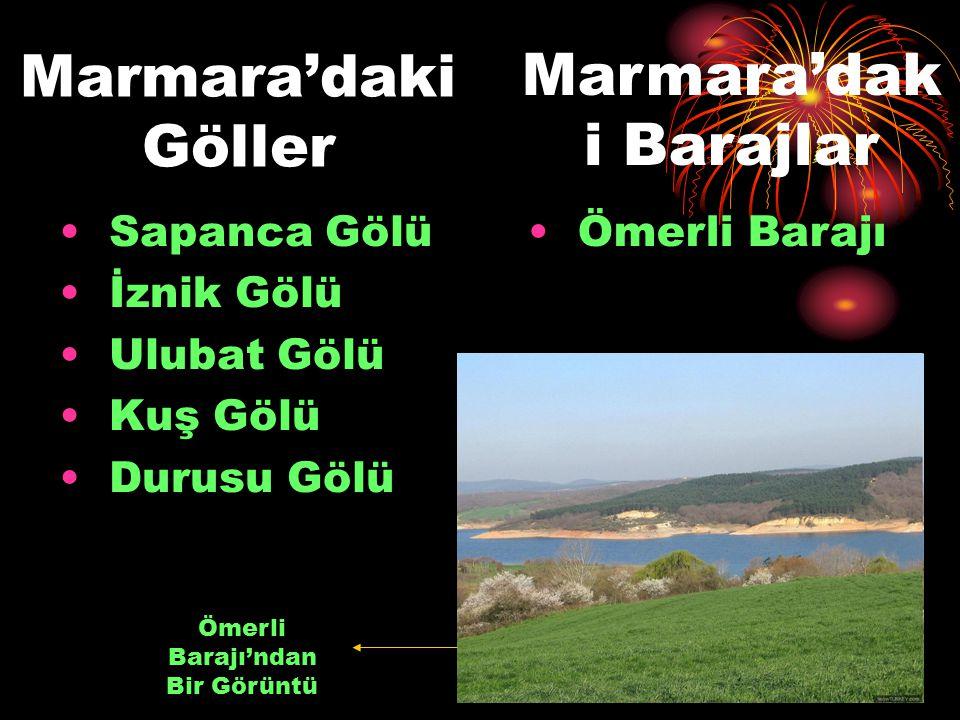Marmara'daki Göller Sapanca Gölü İznik Gölü Ulubat Gölü Kuş Gölü Durusu Gölü Marmara'dak i Barajlar Ömerli Barajı Ömerli Barajı'ndan Bir Görüntü