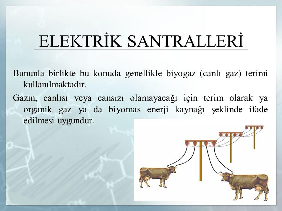 ELEKTRİK SANTRALLERİ Bununla birlikte bu konuda genellikle biyogaz (canlı gaz) terimi kullanılmaktadır. Gazın, canlısı veya cansızı olamayacağı için t