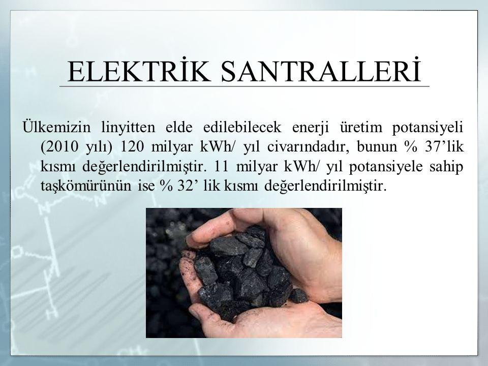 ELEKTRİK SANTRALLERİ Ülkemizin linyitten elde edilebilecek enerji üretim potansiyeli (2010 yılı) 120 milyar kWh/ yıl civarındadır, bunun % 37'lik kısm