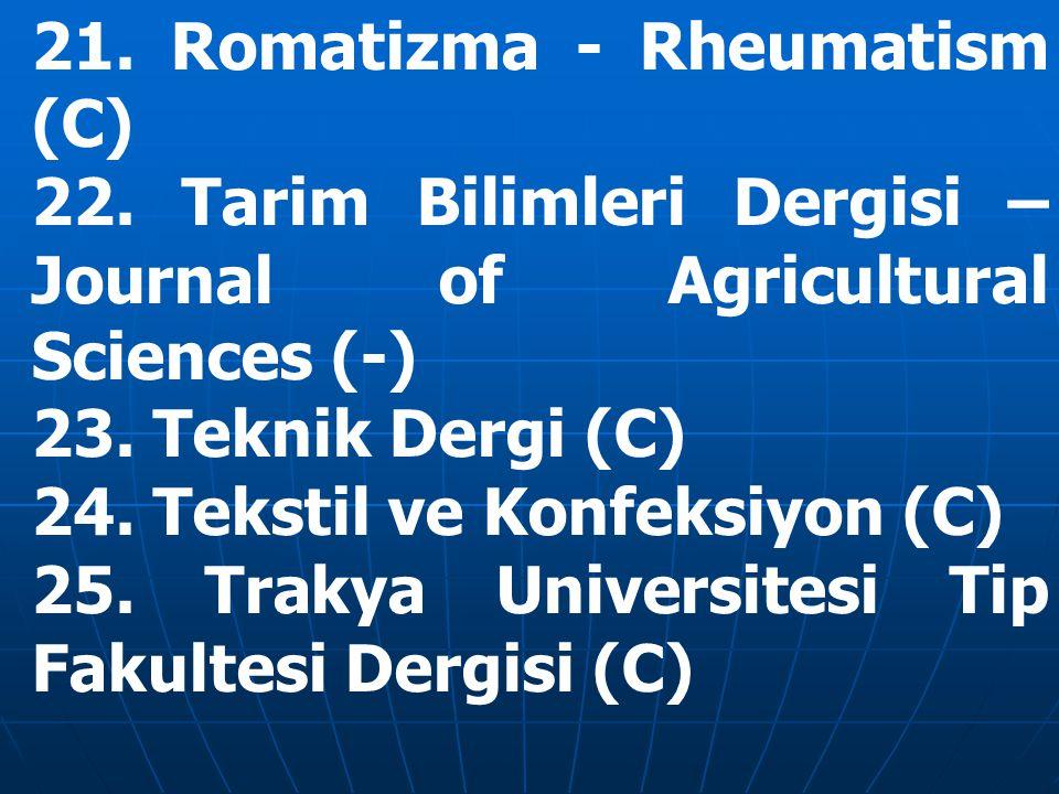 21. Romatizma - Rheumatism (C) 22.