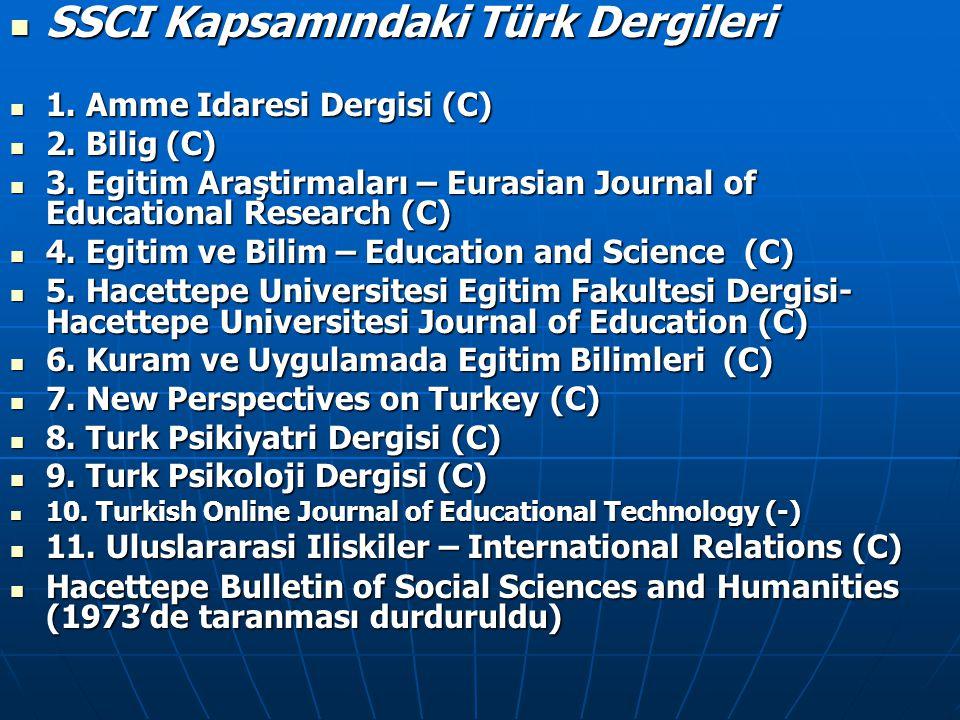 SSCI Kapsamındaki Türk Dergileri SSCI Kapsamındaki Türk Dergileri 1. Amme Idaresi Dergisi (C) 1. Amme Idaresi Dergisi (C) 2. Bilig (C) 2. Bilig (C)