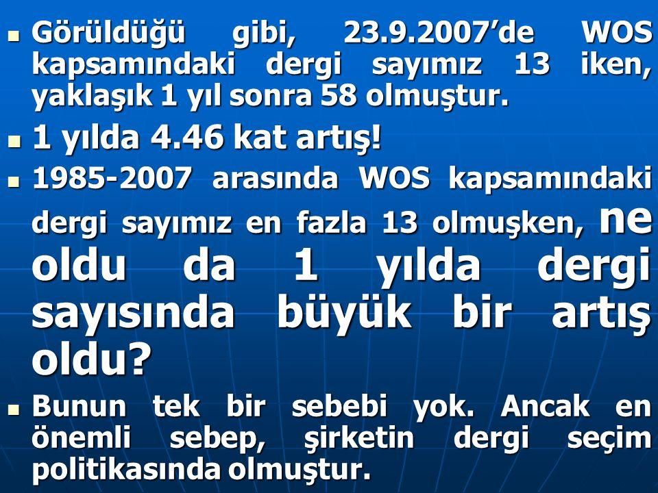 Görüldüğü gibi, 23.9.2007'de WOS kapsamındaki dergi sayımız 13 iken, yaklaşık 1 yıl sonra 58 olmuştur. Görüldüğü gibi, 23.9.2007'de WOS kapsamındaki d
