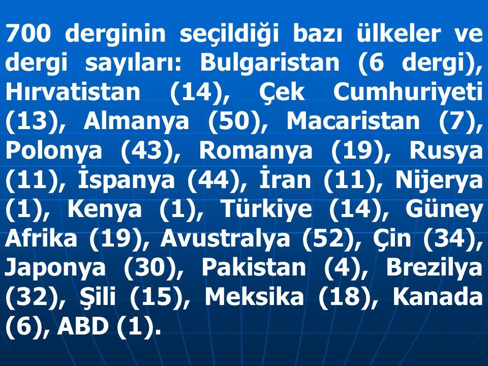 700 derginin seçildiği bazı ülkeler ve dergi sayıları: Bulgaristan (6 dergi), Hırvatistan (14), Çek Cumhuriyeti (13), Almanya (50), Macaristan (7), Polonya (43), Romanya (19), Rusya (11), İspanya (44), İran (11), Nijerya (1), Kenya (1), Türkiye (14), Güney Afrika (19), Avustralya (52), Çin (34), Japonya (30), Pakistan (4), Brezilya (32), Şili (15), Meksika (18), Kanada (6), ABD (1).