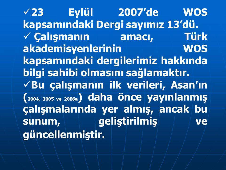 23 Eylül 2007'de WOS kapsamındaki Dergi sayımız 13'dü. Çalışmanın amacı, Türk akademisyenlerinin WOS kapsamındaki dergilerimiz hakkında bilgi sahibi o
