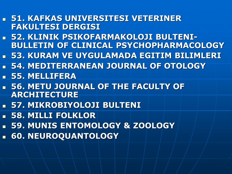 51. KAFKAS UNIVERSITESI VETERINER FAKULTESI DERGISI 51.