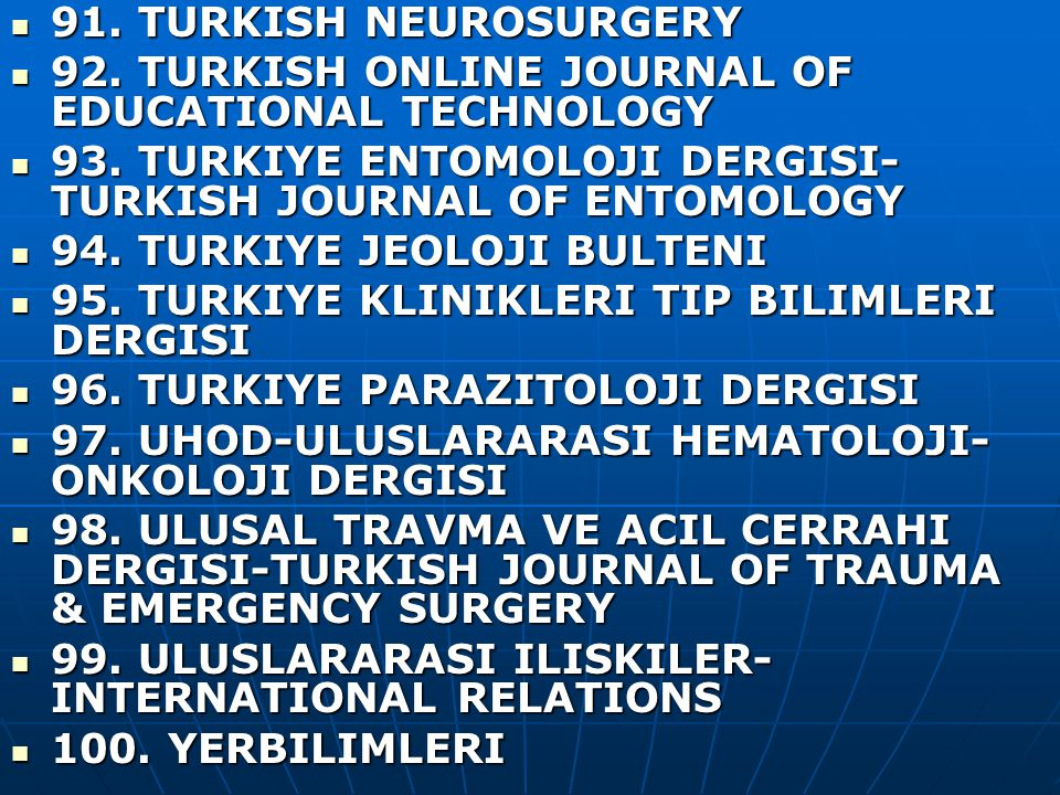 91. TURKISH NEUROSURGERY 91. TURKISH NEUROSURGERY 92.