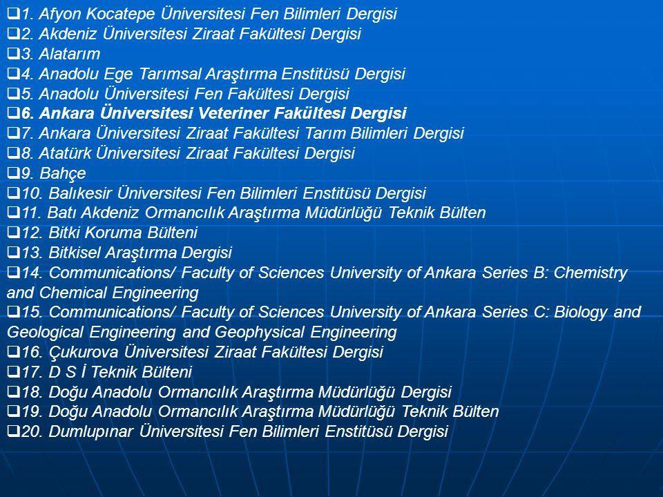  1. Afyon Kocatepe Üniversitesi Fen Bilimleri Dergisi  2. Akdeniz Üniversitesi Ziraat Fakültesi Dergisi  3. Alatarım  4. Anadolu Ege Tarımsal Araş