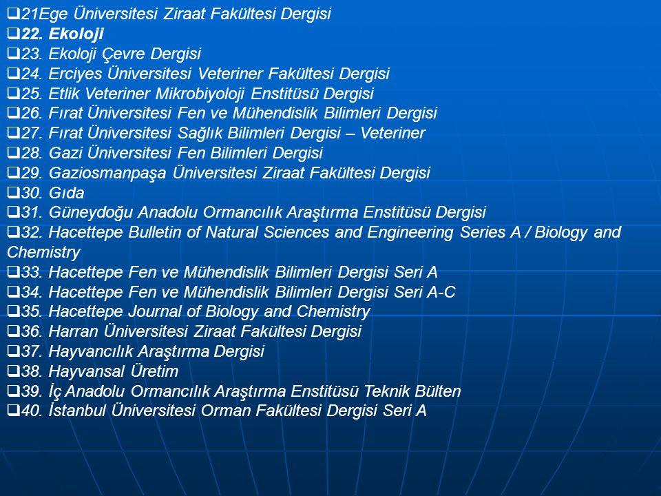  21Ege Üniversitesi Ziraat Fakültesi Dergisi  22. Ekoloji  23. Ekoloji Çevre Dergisi  24. Erciyes Üniversitesi Veteriner Fakültesi Dergisi  25. E