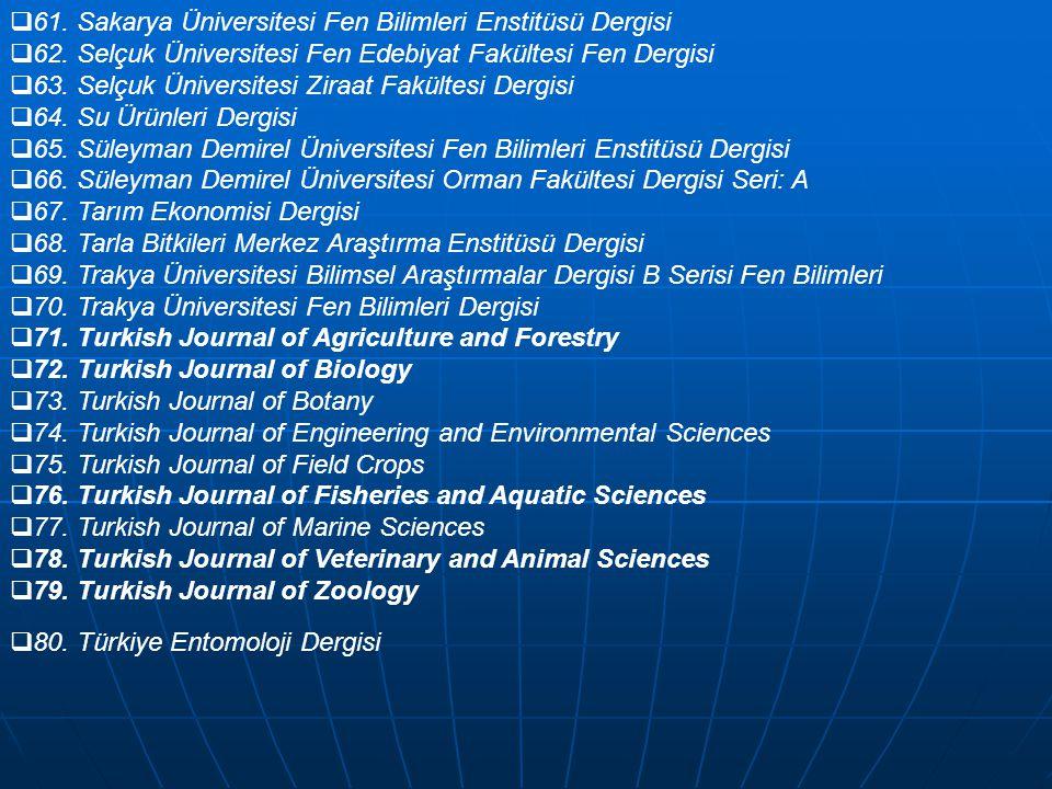  61. Sakarya Üniversitesi Fen Bilimleri Enstitüsü Dergisi  62. Selçuk Üniversitesi Fen Edebiyat Fakültesi Fen Dergisi  63. Selçuk Üniversitesi Zira