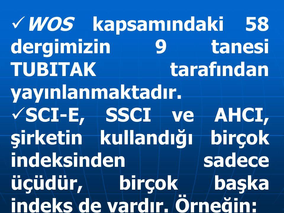 WOS kapsamındaki 58 dergimizin 9 tanesi TUBITAK tarafından yayınlanmaktadır. SCI-E, SSCI ve AHCI, şirketin kullandığı birçok indeksinden sadece üçüdür