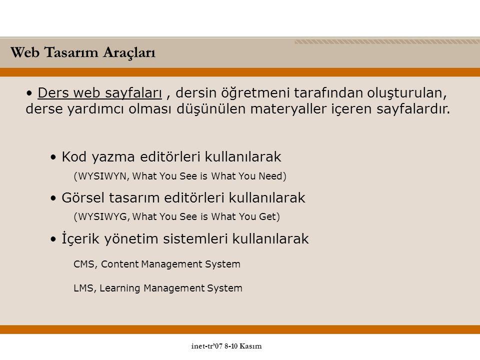 Ders web sayfaları, dersin öğretmeni tarafından oluşturulan, derse yardımcı olması düşünülen materyaller içeren sayfalardır.