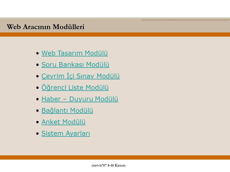 Web Aracının Modülleri Web Tasarım Modülü Soru Bankası Modülü Çevrim İçi Sınav Modülü Öğrenci Liste Modülü Haber – Duyuru Modülü Bağlantı Modülü Anket Modülü Sistem Ayarları inet-tr'07 8-10 Kasım
