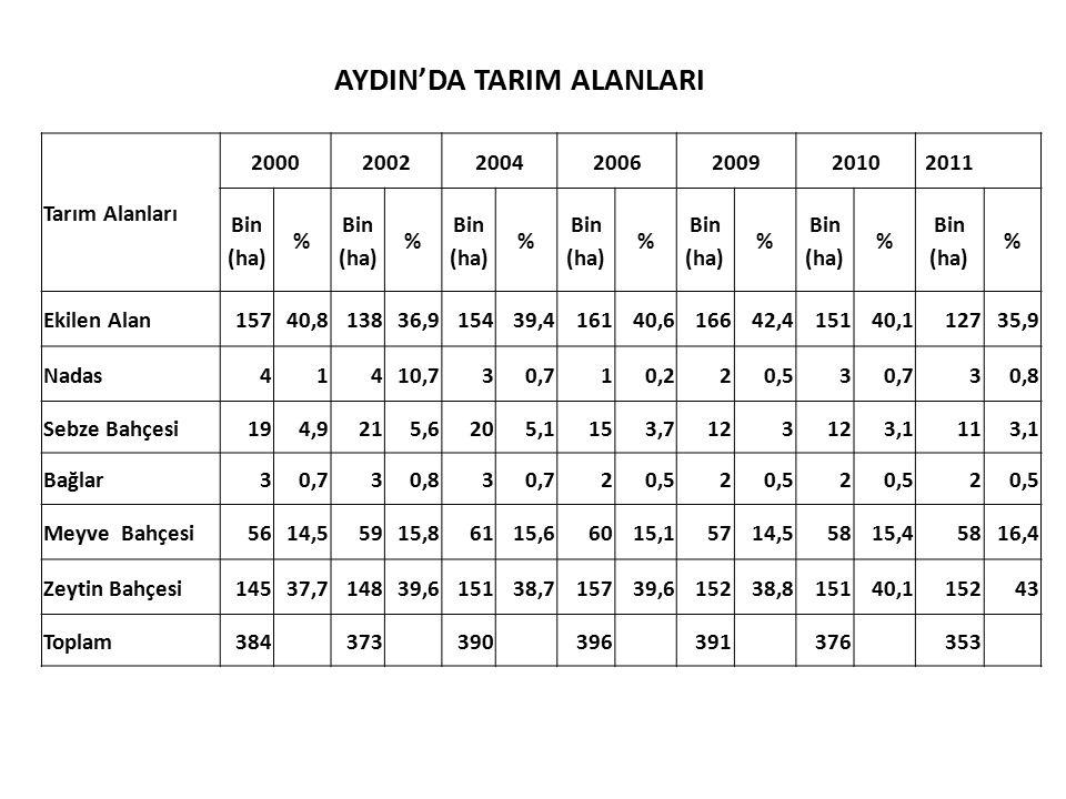 AYDIN'DA TARIM ALANLARI Tarım Alanları 2000200220042006200920102011 Bin (ha) % Bin (ha) % Bin (ha) % Bin (ha) % Bin (ha) % Bin (ha) % Bin (ha) % Ekile
