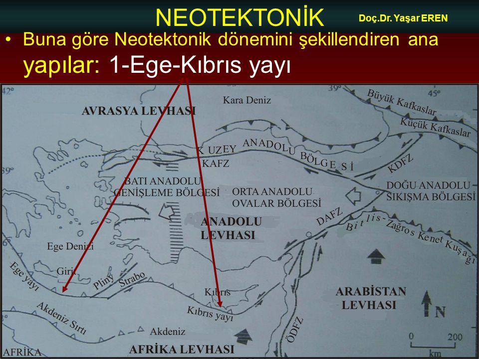 NEOTEKTONİK Doç.Dr. Yaşar EREN Buna göre Neotektonik dönemini şekillendiren ana yapılar: 1-Ege-Kıbrıs yayı