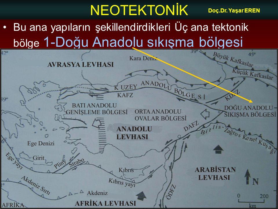 NEOTEKTONİK Doç.Dr. Yaşar EREN Bu ana yapıların şekillendirdikleri Üç ana tektonik bölge 1-Doğu Anadolu sıkışma bölgesi
