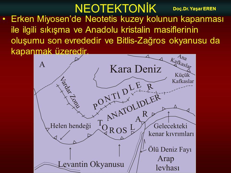 NEOTEKTONİK Doç.Dr. Yaşar EREN Erken Miyosen'de Neotetis kuzey kolunun kapanması ile ilgili sıkışma ve Anadolu kristalin masiflerinin oluşumu son evre