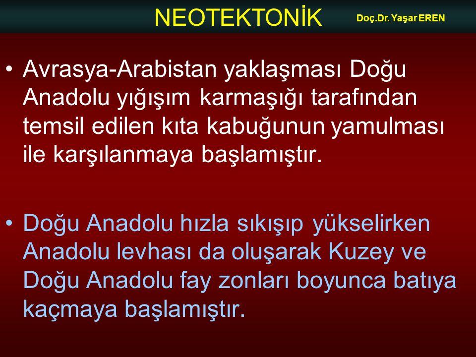 NEOTEKTONİK Doç.Dr. Yaşar EREN Avrasya-Arabistan yaklaşması Doğu Anadolu yığışım karmaşığı tarafından temsil edilen kıta kabuğunun yamulması ile karşı