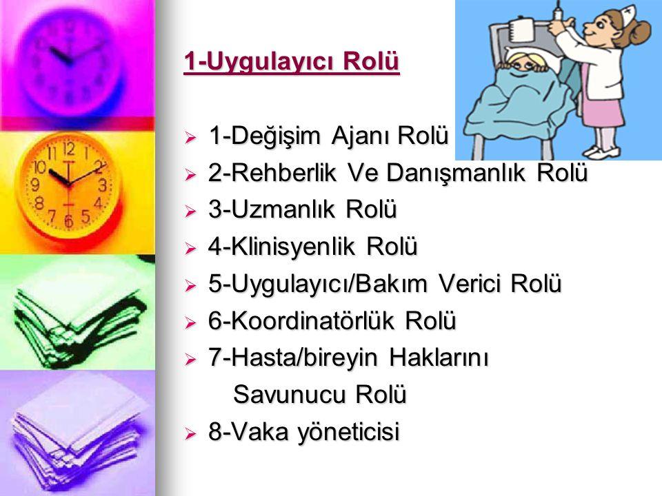 1-Uygulayıcı Rolü  1-Değişim Ajanı Rolü  2-Rehberlik Ve Danışmanlık Rolü  3-Uzmanlık Rolü  4-Klinisyenlik Rolü  5-Uygulayıcı/Bakım Verici Rolü 
