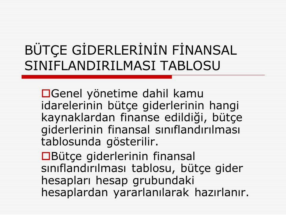 BÜTÇE GİDERLERİNİN FİNANSAL SINIFLANDIRILMASI TABLOSU  Genel yönetime dahil kamu idarelerinin bütçe giderlerinin hangi kaynaklardan finanse edildiği,