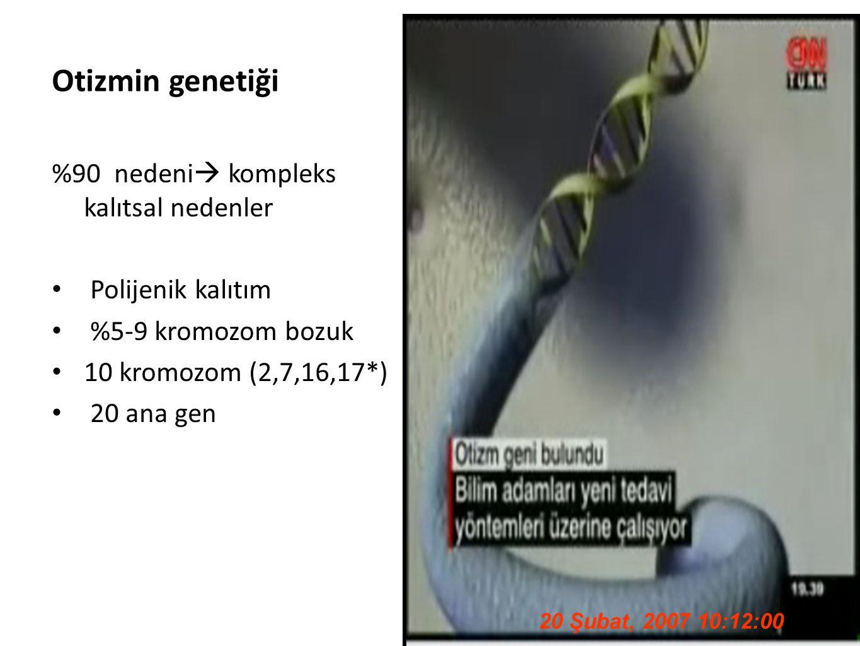 44 Otizmin genetiği %90 nedeni  kompleks kalıtsal nedenler Polijenik kalıtım %5-9 kromozom bozuk 10 kromozom (2,7,16,17*) 20 ana gen 20 Şubat, 2007 1