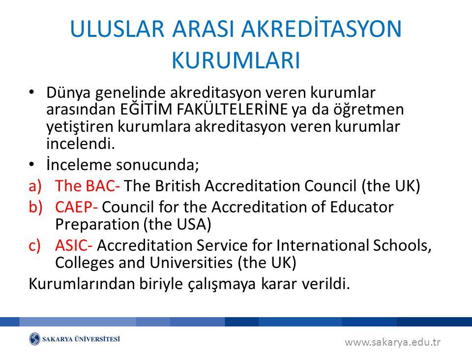 Dünya genelinde akreditasyon veren kurumlar arasından EĞİTİM FAKÜLTELERİNE ya da öğretmen yetiştiren kurumlara akreditasyon veren kurumlar incelendi.
