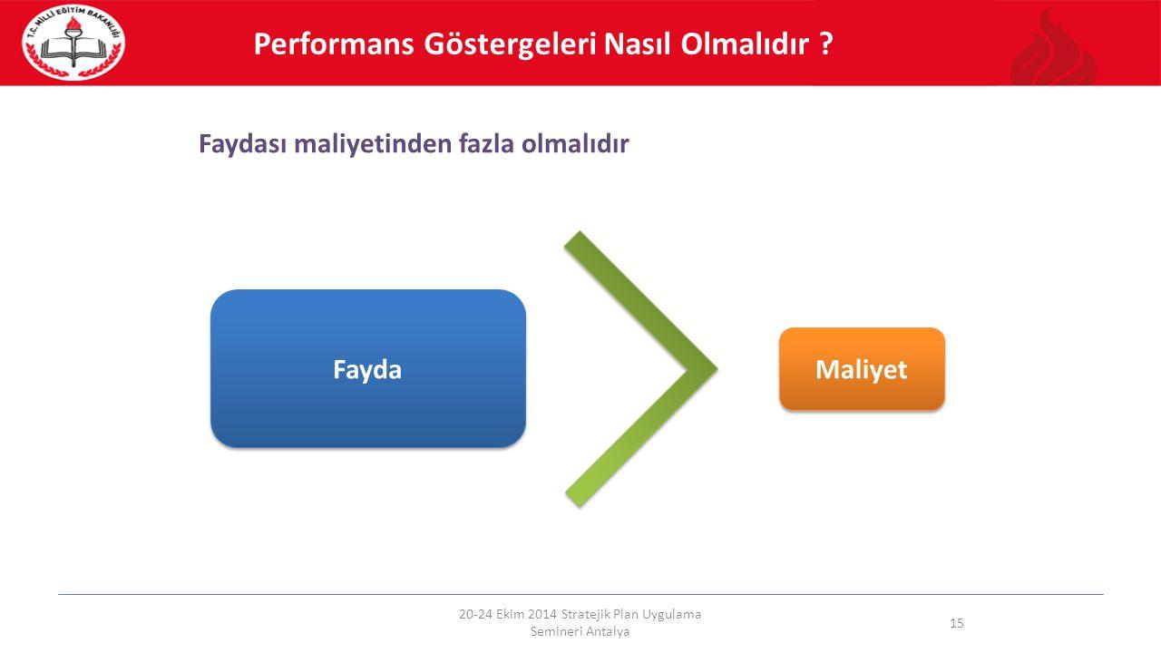 Faydası maliyetinden fazla olmalıdır 20-24 Ekim 2014 Stratejik Plan Uygulama Semineri Antalya 15 Fayda Maliyet Performans Göstergeleri Nasıl Olmalıdır