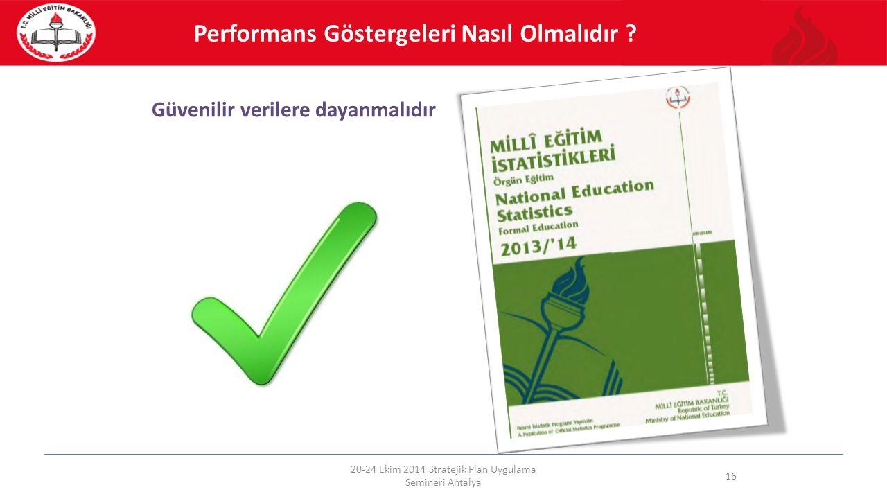 Güvenilir verilere dayanmalıdır 20-24 Ekim 2014 Stratejik Plan Uygulama Semineri Antalya 16 Performans Göstergeleri Nasıl Olmalıdır ?