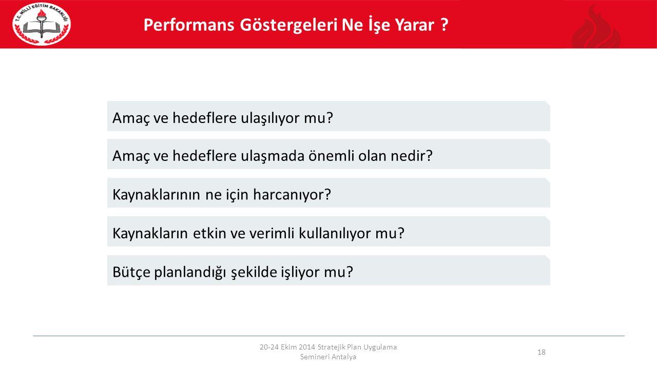 20-24 Ekim 2014 Stratejik Plan Uygulama Semineri Antalya 18 Performans Göstergeleri Ne İşe Yarar ? Amaç ve hedeflere ulaşmada önemli olan nedir? Kayna