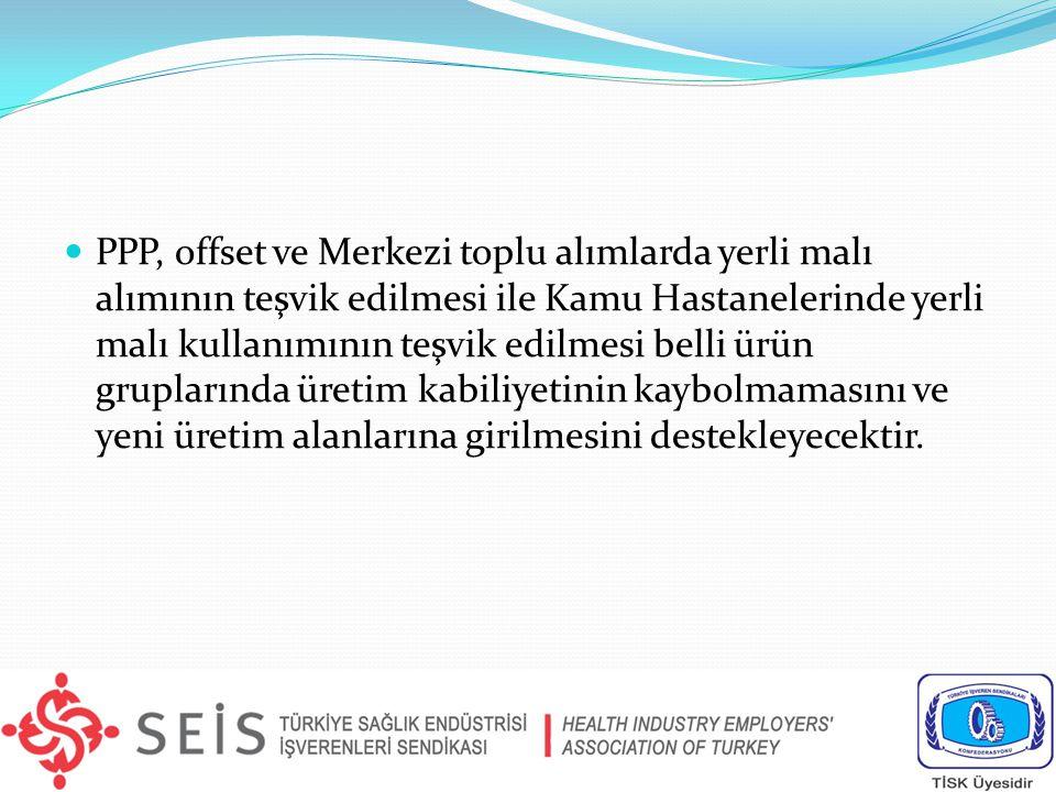 PPP, offset ve Merkezi toplu alımlarda yerli malı alımının teşvik edilmesi ile Kamu Hastanelerinde yerli malı kullanımının teşvik edilmesi belli ürün gruplarında üretim kabiliyetinin kaybolmamasını ve yeni üretim alanlarına girilmesini destekleyecektir.