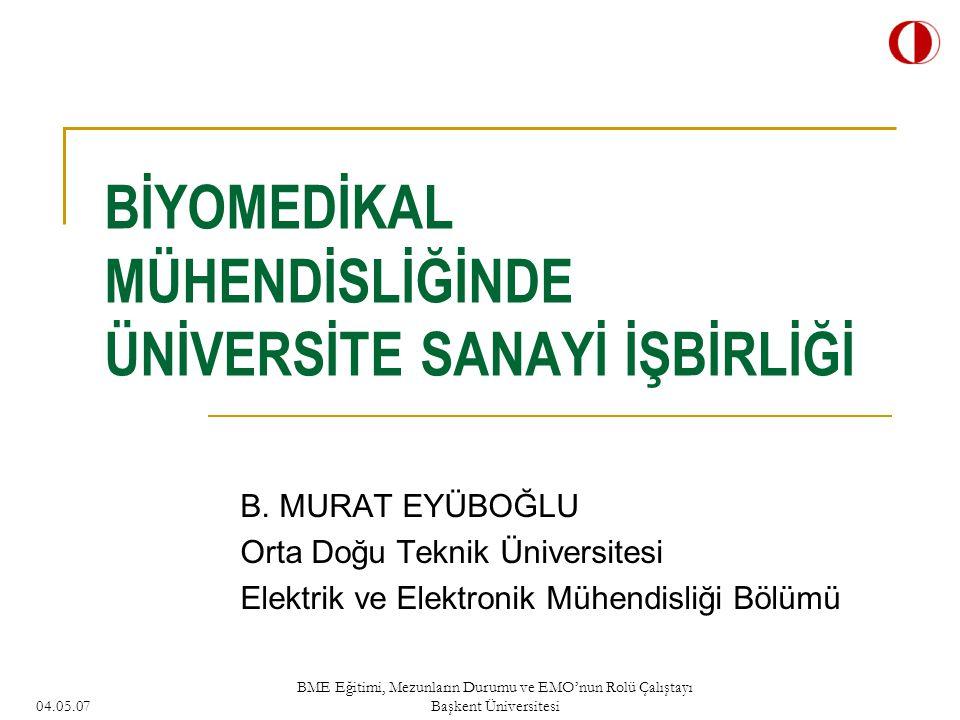 04.05.07 BME Eğitimi, Mezunların Durumu ve EMO'nun Rolü Çalıştayı Başkent Üniversitesi BİYOMEDİKAL MÜHENDİSLİĞİNDE ÜNİVERSİTE SANAYİ İŞBİRLİĞİ B.