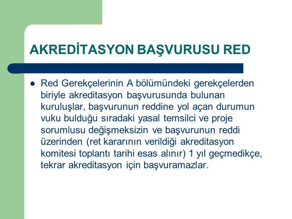 AKREDİTASYON BAŞVURUSU RED Red Gerekçelerinin A bölümündeki gerekçelerden biriyle akreditasyon başvurusunda bulunan kuruluşlar, başvurunun reddine yol
