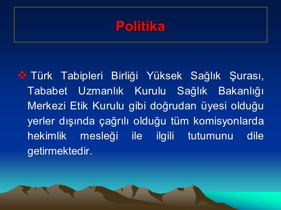 Politika  Türk Tabipleri Birliği Yüksek Sağlık Şurası, Tababet Uzmanlık Kurulu Sağlık Bakanlığı Merkezi Etik Kurulu gibi doğrudan üyesi olduğu yerler dışında çağrılı olduğu tüm komisyonlarda hekimlik mesleği ile ilgili tutumunu dile getirmektedir.