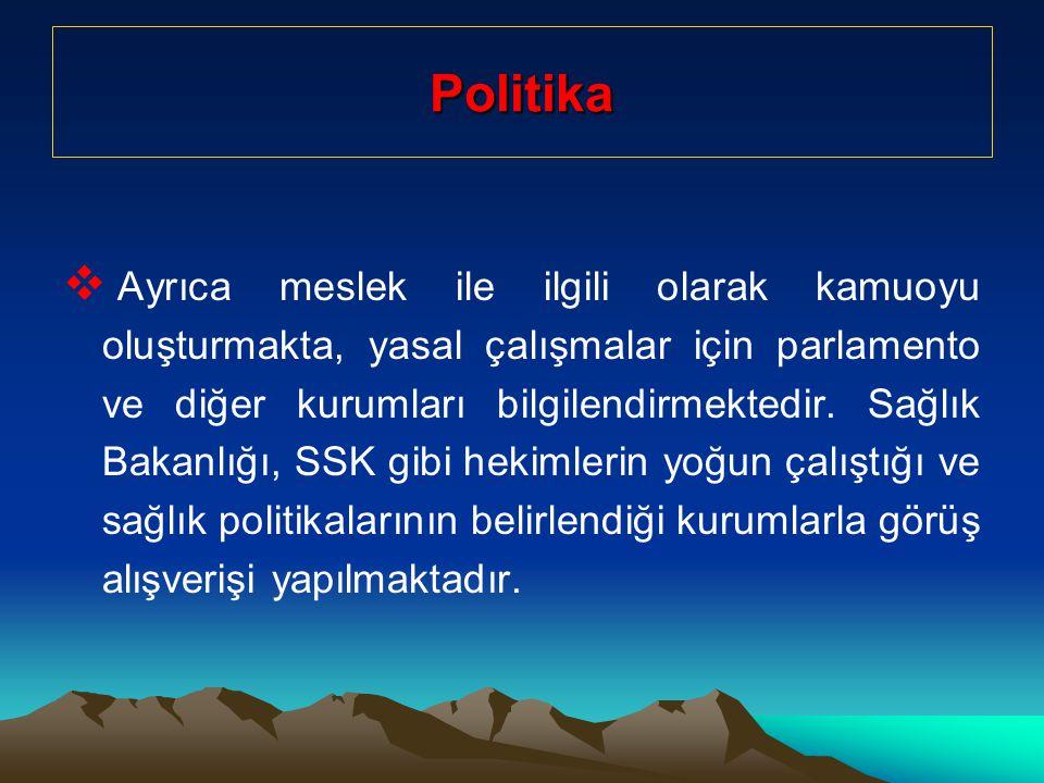 Politika  Ayrıca meslek ile ilgili olarak kamuoyu oluşturmakta, yasal çalışmalar için parlamento ve diğer kurumları bilgilendirmektedir.