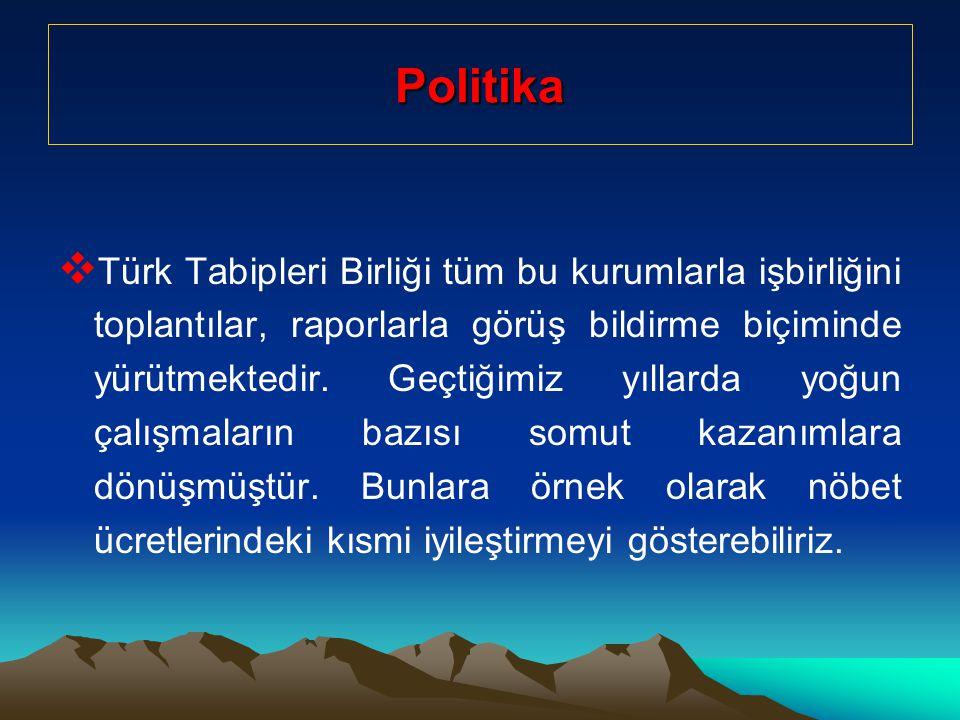 Politika  Türk Tabipleri Birliği tüm bu kurumlarla işbirliğini toplantılar, raporlarla görüş bildirme biçiminde yürütmektedir.