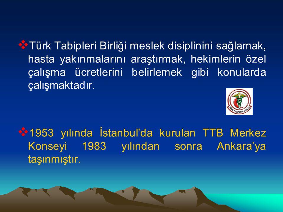  Türk Tabipleri Birliği meslek disiplinini sağlamak, hasta yakınmalarını araştırmak, hekimlerin özel çalışma ücretlerini belirlemek gibi konularda çalışmaktadır.